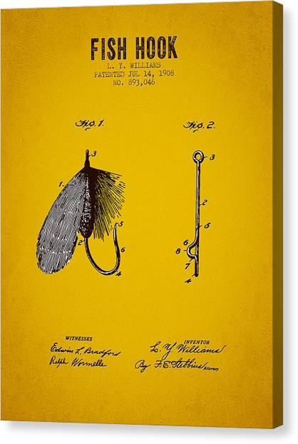 Bass Fishing Canvas Print - 1908 Fish Hook Patent - Yellow Brown by Aged Pixel