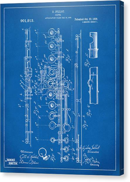 Marching Band Canvas Print - 1908 Flute Patent - Blueprint by Nikki Marie Smith