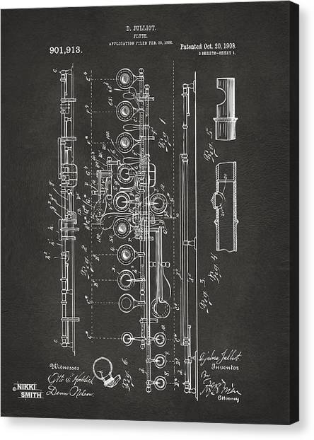 Wind Instruments Canvas Print - 1908 Flute Patent - Gray by Nikki Marie Smith