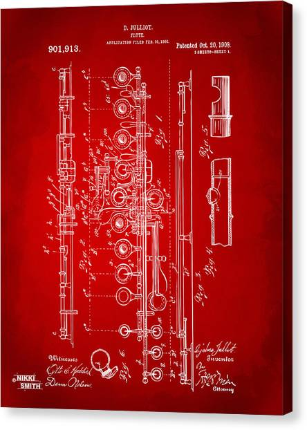 Marching Band Canvas Print - 1908 Flute Patent - Red by Nikki Marie Smith