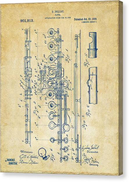 Canvas Print featuring the digital art 1908 Flute Patent - Vintage by Nikki Marie Smith