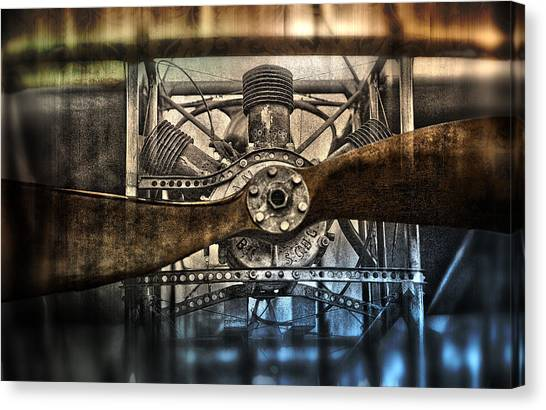 Biplane Canvas Print - 1909 Biplane Engine And Propeller by Daniel Hagerman