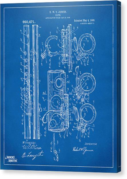 Marching Band Canvas Print - 1909 Flute Patent - Blueprint by Nikki Marie Smith