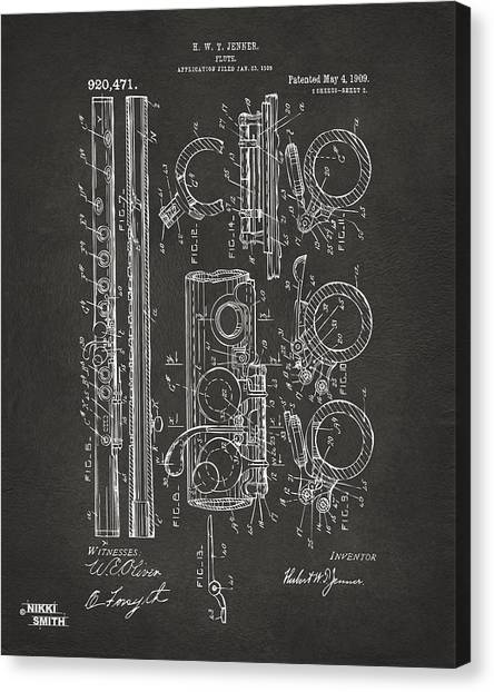 Marching Band Canvas Print - 1909 Flute Patent - Gray by Nikki Marie Smith
