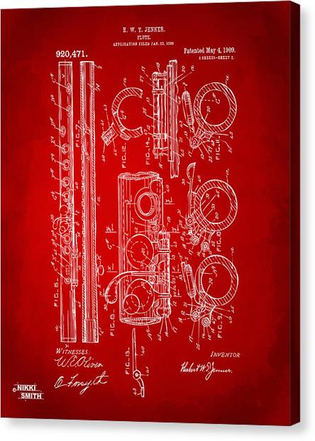 Marching Band Canvas Print - 1909 Flute Patent In Red by Nikki Marie Smith