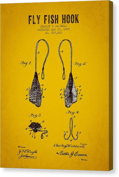 Bass Fishing Canvas Print - 1909 Fly Fish Hook Patent - Yellow Brown by Aged Pixel