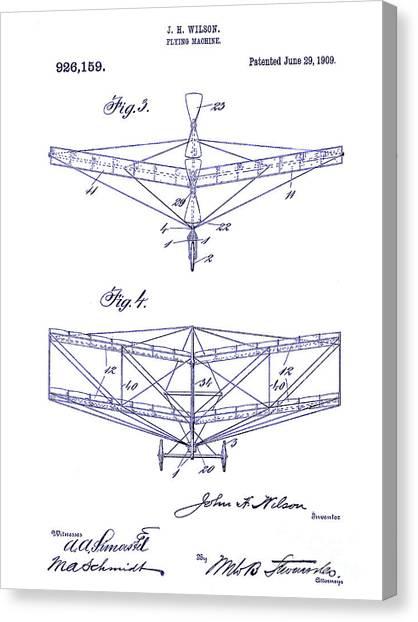 Airplane blueprint canvas prints fine art america airplane blueprint canvas print 1909 flying machine patent drawing blueprint by jon neidert malvernweather Image collections