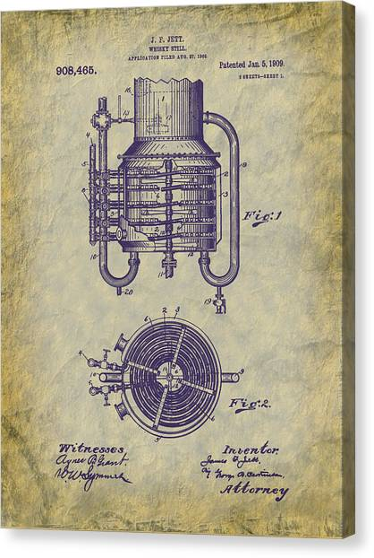 1909 Jett Whiskey Still Patent Canvas Print