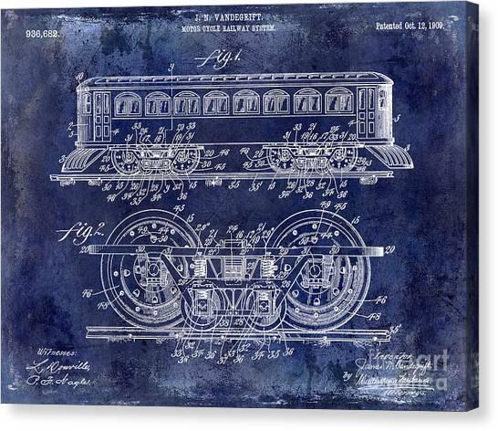 Vintage Railroad Canvas Print - 1909 Railway System Patent Drawing Blue by Jon Neidert