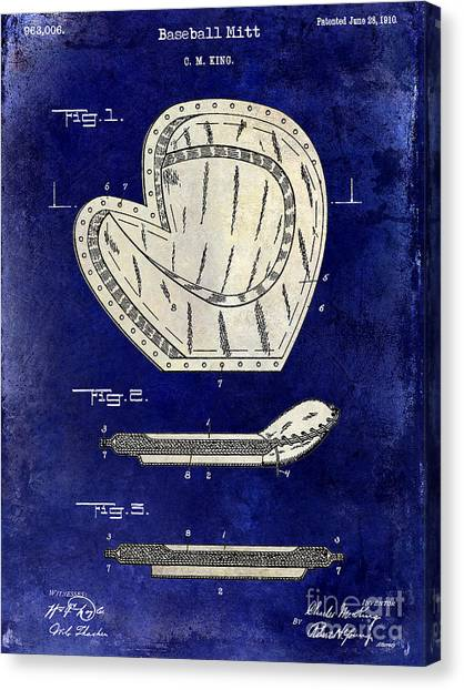 Baseball Gloves Canvas Print - 1910 Baseball Patent Drawing 2 Tone Blue by Jon Neidert