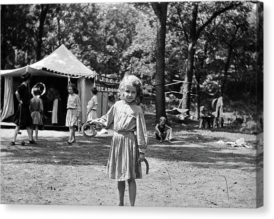 Pitching Canvas Print - 1910s Little Girl Pitching Horseshoes by Vintage Images