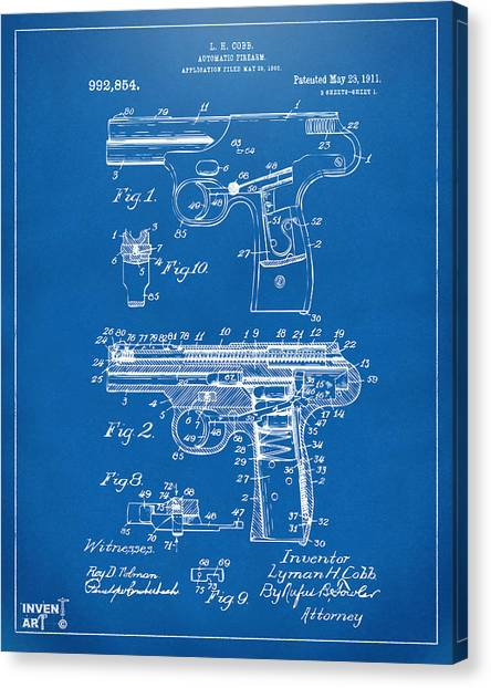 Police Officers Canvas Print - 1911 Automatic Firearm Patent Artwork - Blueprint by Nikki Marie Smith