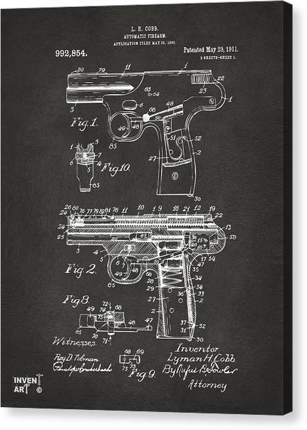 Police Officers Canvas Print - 1911 Automatic Firearm Patent Artwork - Gray by Nikki Marie Smith