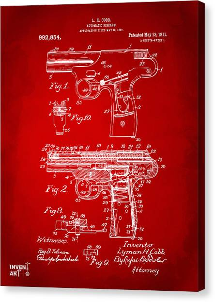 Police Officers Canvas Print - 1911 Automatic Firearm Patent Artwork - Red by Nikki Marie Smith