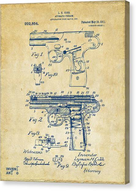 Police Officers Canvas Print - 1911 Automatic Firearm Patent Artwork - Vintage by Nikki Marie Smith