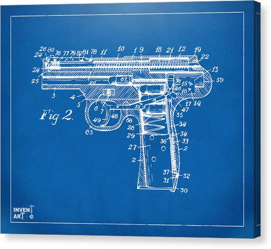Weapons Canvas Print - 1911 Automatic Firearm Patent Minimal - Blueprint by Nikki Marie Smith