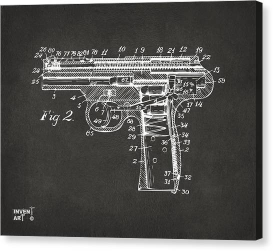 Weapons Canvas Print - 1911 Automatic Firearm Patent Minimal - Gray by Nikki Marie Smith
