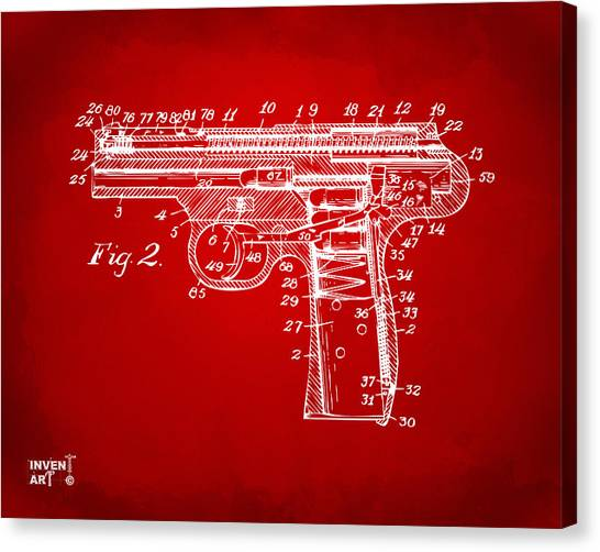 Weapons Canvas Print - 1911 Automatic Firearm Patent Minimal - Red by Nikki Marie Smith