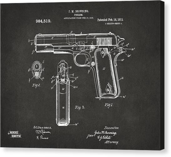Canvas Print featuring the digital art 1911 Browning Firearm Patent Artwork - Gray by Nikki Marie Smith