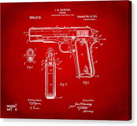 Lovers Drawing Canvas Print - 1911 Colt 45 Browning Firearm Patent Artwork Red by Nikki Marie Smith