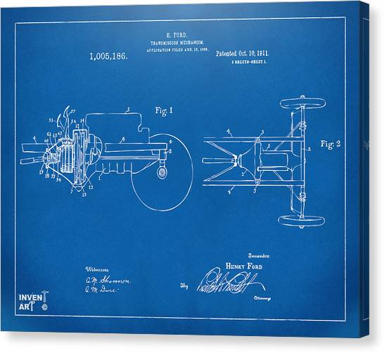 Transmission Canvas Print - 1911 Henry Ford Transmission Patent Blueprint by Nikki Marie Smith
