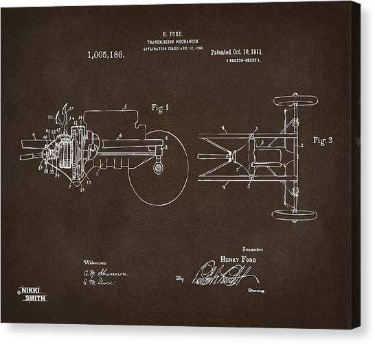 Transmission Canvas Print - 1911 Henry Ford Transmission Patent Espresso by Nikki Marie Smith