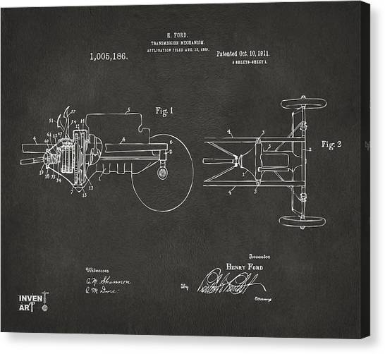 Transmission Canvas Print - 1911 Henry Ford Transmission Patent Gray by Nikki Marie Smith