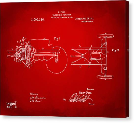 Transmission Canvas Print - 1911 Henry Ford Transmission Patent Red by Nikki Marie Smith