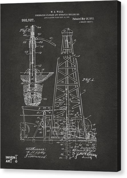 Oil Rigs Canvas Print - 1911 Oil Drilling Rig Patent Artwork - Gray by Nikki Marie Smith