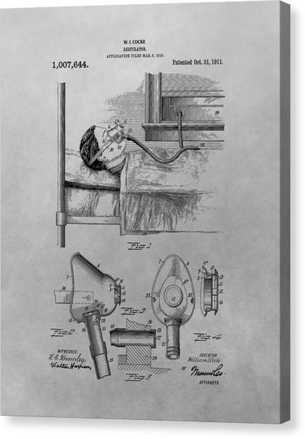 Health Insurance Canvas Print - 1911 Respirator Patent Drawing by Dan Sproul