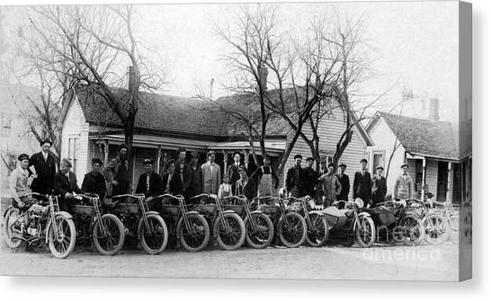 Ducati Canvas Print - 1912 Harley Motorcycle Club by Jon Neidert