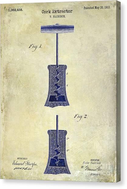 Wine Barrels Canvas Print - 1913 Cork Extractor Patent Drawing 2 Tone by Jon Neidert