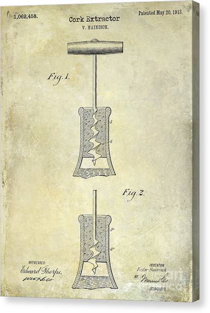 Wine Barrels Canvas Print - 1913 Cork Extractor Patent Drawing  by Jon Neidert