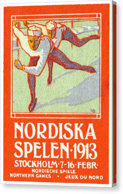 Speed Skating Canvas Print - 1913 Nordic Games Poster by Historic Image
