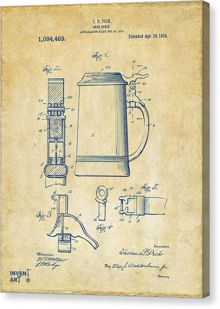 Bar Canvas Print - 1914 Beer Stein Patent Artwork - Vintage by Nikki Marie Smith