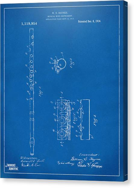 Marching Band Canvas Print - 1914 Flute Patent - Blueprint by Nikki Marie Smith
