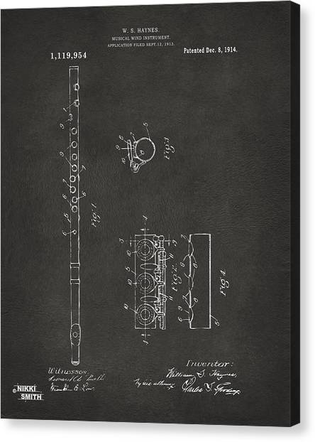 Marching Band Canvas Print - 1914 Flute Patent - Gray by Nikki Marie Smith