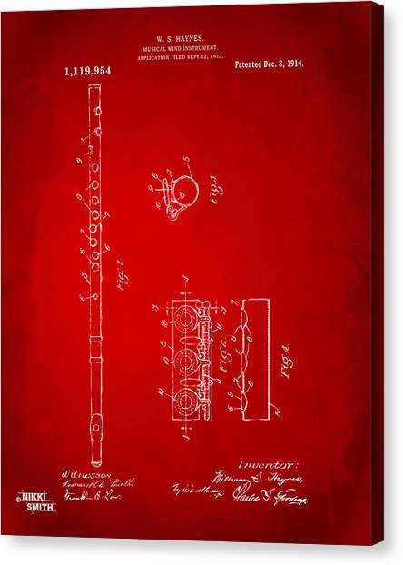 Marching Band Canvas Print - 1914 Flute Patent - Red by Nikki Marie Smith