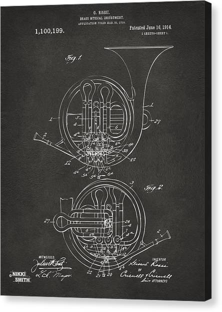 Marching Band Canvas Print - 1914 French Horn Patent Art - Gray by Nikki Marie Smith