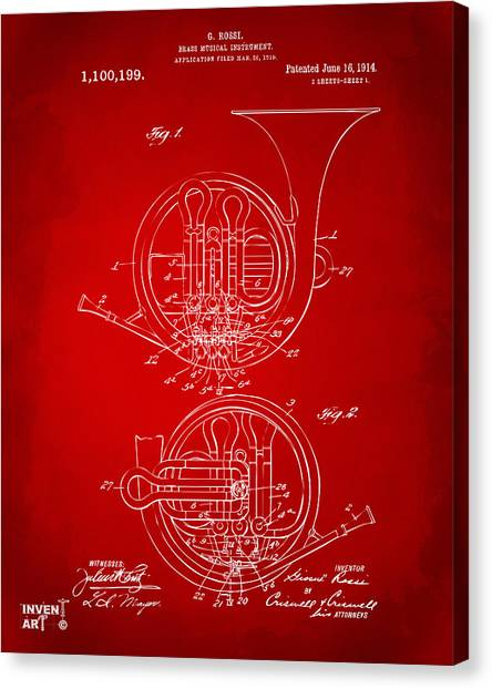 Marching Band Canvas Print - 1914 French Horn Patent Art Red by Nikki Marie Smith