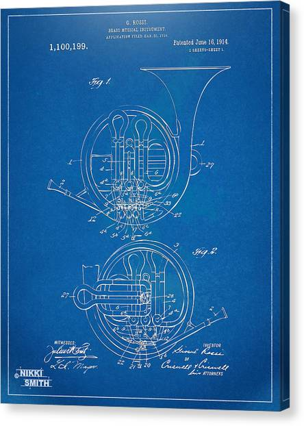 Marching Band Canvas Print - 1914 French Horn Patent Blueprint by Nikki Marie Smith