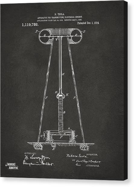 Media Canvas Print - 1914 Tesla Transmitter Patent Artwork - Gray by Nikki Marie Smith