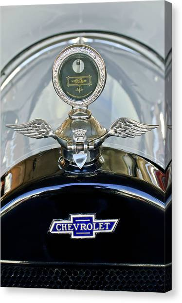 Touring Canvas Print - 1915 Chevrolet Touring Hood Ornament by Jill Reger