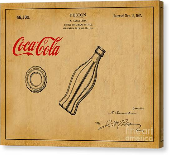 Vintage Canvas Print - 1915 Coca Cola Bottle Design Patent Art 1 by Nishanth Gopinathan