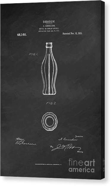 Cocacola Canvas Print - 1915 Coca Cola Bottle Design Patent Art 6 by Nishanth Gopinathan