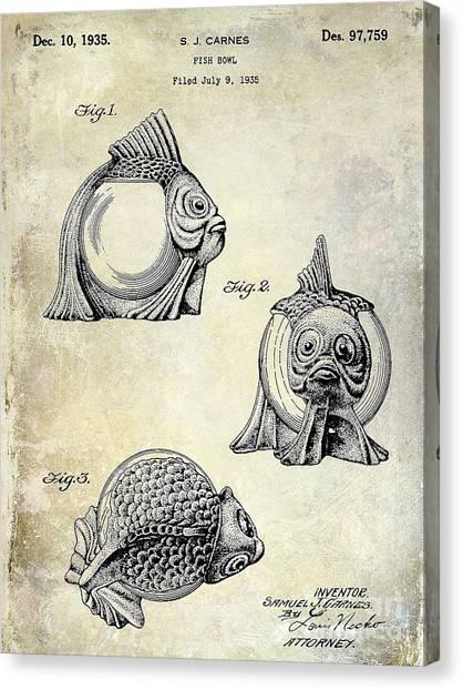 Fishing Poles Canvas Print - 1915 Fish Bowl Patent Drawing  by Jon Neidert