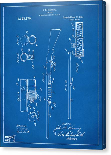 Shotguns Canvas Print - 1915 Ithaca Shotgun Patent Blueprint by Nikki Marie Smith