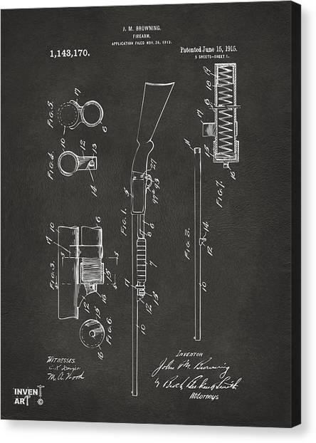 Shotguns Canvas Print - 1915 Ithaca Shotgun Patent Gray by Nikki Marie Smith