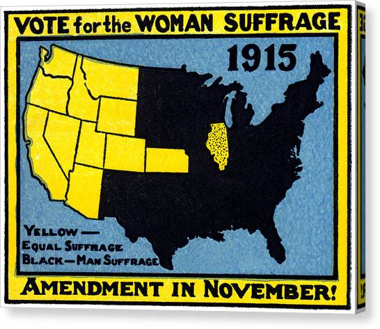 Womens Rights Canvas Print - 1915 Vote For Women's Suffrage by Historic Image