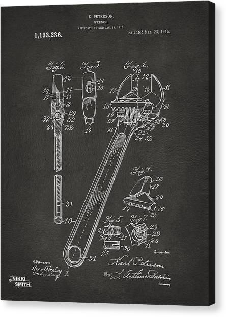 Wrenches Canvas Print - 1915 Wrench Patent Artwork - Gray by Nikki Marie Smith